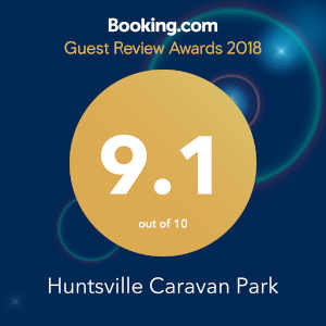 Booking.com Guest Review Awards 2018 Huntsville Caravan Park 9.1 out of 10