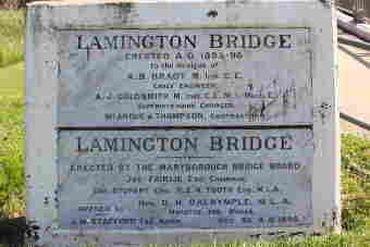 Original stone and marble plaque at Lamington Bridge